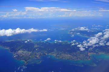 Aerial view of the island of Okinawa in the south of Japan