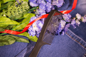 set of professional combs for hair cutting