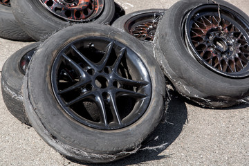 used tire after drift.
