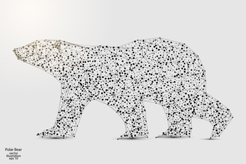 Polar bear is an abstract image of a polygonal triangle model.Starry sky. Low poly design. Vector EPS 10.