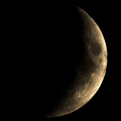 High contrast Waxing crescent moon seen with telescope