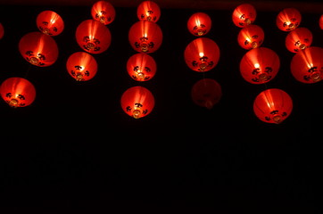Chinese lanterns during new year festival,Chinese new year lanterns in chinatown, firecracker celebration,for background