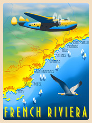Flight over the French Riviera. Retro poster. Handmade drawing vector illustration.