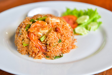 Fried rice with prawns, Thai food.