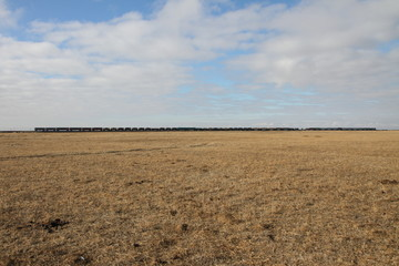 Freight train in Kazakh steppe