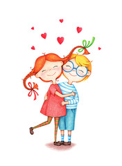 hand drawn picture of two children hug each other by the color pencils on white background. illustration of sentimental happy couple in love bonding.