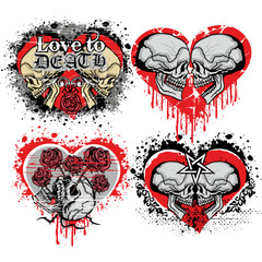 valentines skull with heart, grunge vintage design t shirts set