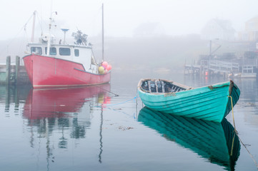 Fishing Boats in Harbor on Foggy Morning