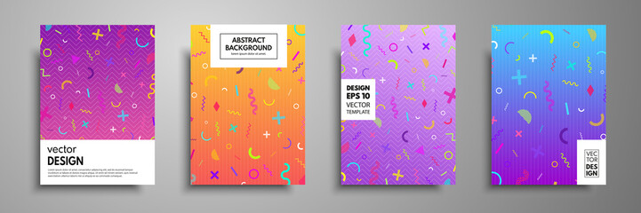 Fototapete - Placard templates set with abstract geometric elements. Memphis style cards. Collection of templates in trendy memphis fashion 80-90s. Applicable for placards, brochures, flyers, covers and banners.