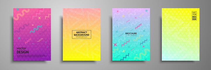 Colorful placard templates set with abstract shapes, 80s memphis geometric style flat and line design elements. Applicable for brochures, flyers, banners, covers, notebooks, book, magazine