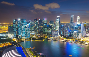 Aerial skyline of Singapore Downtown