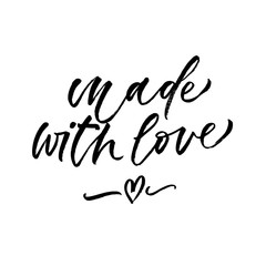 Made with love. Valentine's Day calligraphy phrases. Hand drawn romantic postcard. Modern romantic lettering. Isolated on white background.