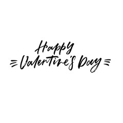 Happy Valentines's Day. Valentine's Day calligraphy phrases. Hand drawn romantic postcard. Modern romantic lettering. Isolated on white background.