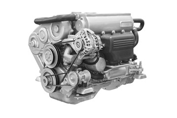 The image of an engine under the white background Wall mural