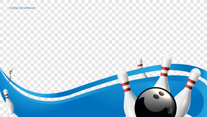 Bowling wave blue. Tv size banner. Vector clip art illustration.