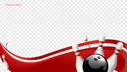 Bowling wave red. Tv size banner. Vector clip art illustration.