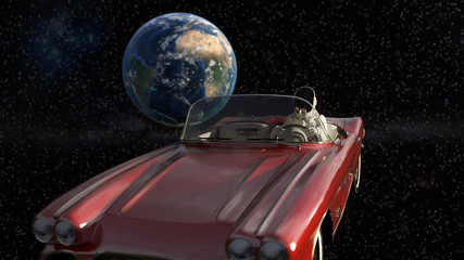 spaceman travelling in a roadster