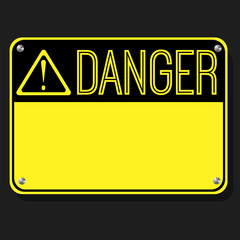 Danger Sign. Flat Sign. Print exclamation mark. Poster. Announcement about the dangers. Plate on the bolts. Vector board.