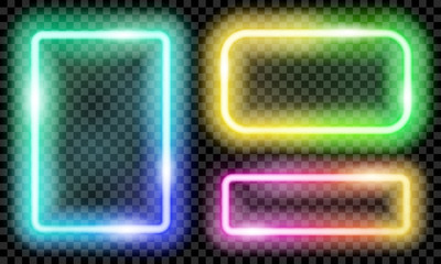 Set of colorful translucent neon frames on transparent background. Transparency only in vector format