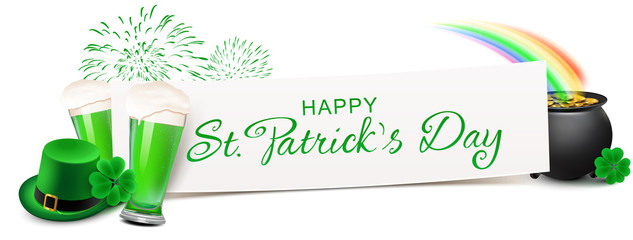 Happy St Patricks Day - Banner with Leprechaun Hat, Shamrock, Fireworks and a pot of gold under the Rainbow