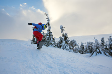 Snowboarder is jumping among snow covered fir trees
