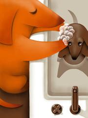 Dog bathes younger dog