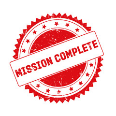 Mission Complete red grunge stamp isolated