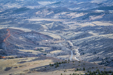 Colorado foothills with transmountain water supply canal
