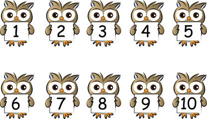 owls holding a card about numbers