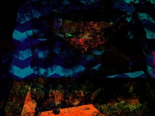 Neon Stripped Wave Abstract Blue & Orange