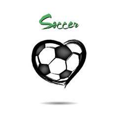 Soccer ball shaped as a heart