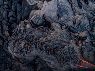 Aerial photos of lava breakouts on Kilauea volcano slope