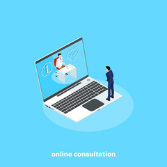 a man in a business suit consults with a doctor via the Internet in his laptop, an isometric image