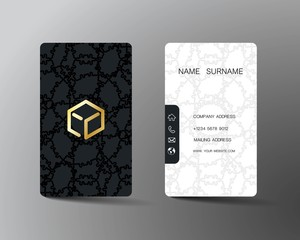 Realistic detailed business card design. With inspiration from geometric. Contact card for company. Two sided  black and white vertical on the gray background. Vector illustration.