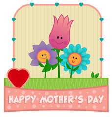 Mother's Day Design - Happy Mother's Day clip-art with mother flower and her two children. Eps10