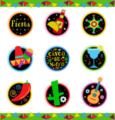 Fiesta Icons - Nine colorful Mexican celebration icons. Eps10