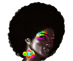 Trendy, curly African hair is worn by this realistic 3d model. She poses in front of an isolated white background, wears colorful electric eye shadow and matching bubble earrings.