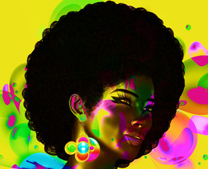 Trendy, curly African hair is worn by this realistic 3d model. She poses in front of a colorful abstract background of bubbles and wears matching body paint. perfect for  themes of art and fashion.
