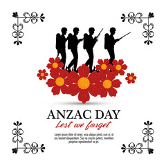 anzac day with Silhouette soldiers in the field vector illustration graphic design