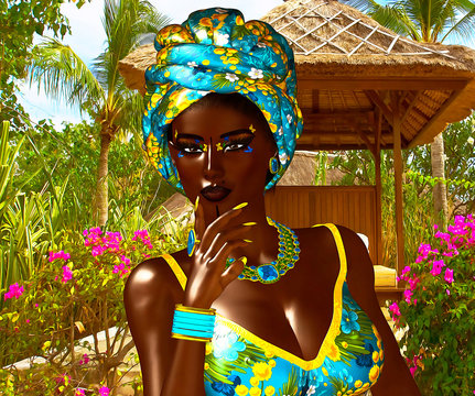 Beautiful Proud African Woman. A colorful image of a beautiful woman with matching makeup, accessories and clothing against a floral background.  3d digital art render