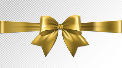 Shiny gold satin ribbon on transparent background. Vector