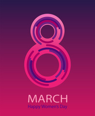March 8 Happy Women's Day vector background. Gradient modern trend.