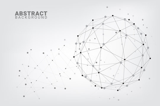 Abstract technology background.Geometric vector background. Global network connections with points and lines.