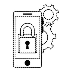 smartphone with padlock and gears vector illustration design