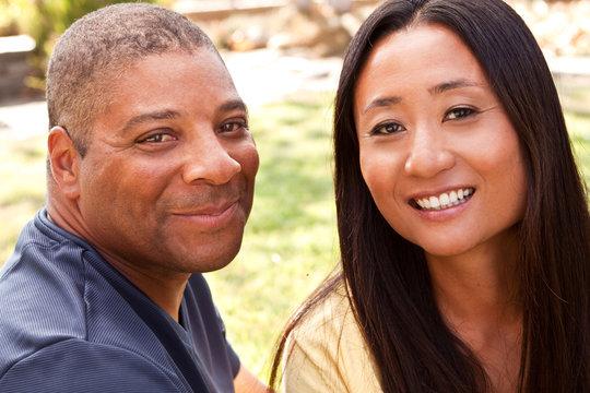Loving smiling man and woman hugging.