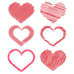 Set of red hand drawn hearts for your design. Vector