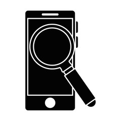 smartphone with magnifying glass vector illustration design