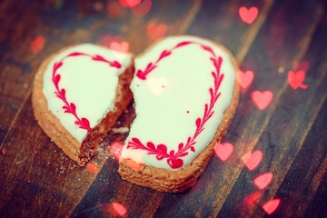 Cracked heart shaped cookie decorated