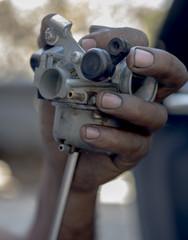 Indian mechanic close up shot
