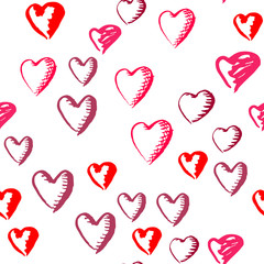 Drawn hearts seamless pattern for Valentines Day